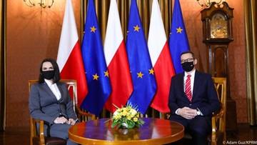 """Cichanouska w Warszawie. """"Nie chcemy tu mieszkać kosztem innych ludzi"""""""