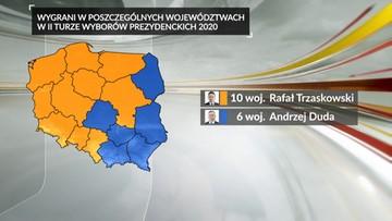 Wybory prezydenckie. Jak głosowały poszczególne województwa?