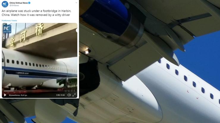 Samolot utknął... pod kładką dla pieszych [WIDEO]