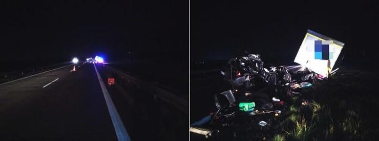 Za zesputą ciężarówką zatrzymał się policyjny patrol, oświetlał miejsce awarii i ostrzegał innych kierowców. Kierowca jeepa zdołał ominąć radiowóz, ale uderzył w ciężarówkę.