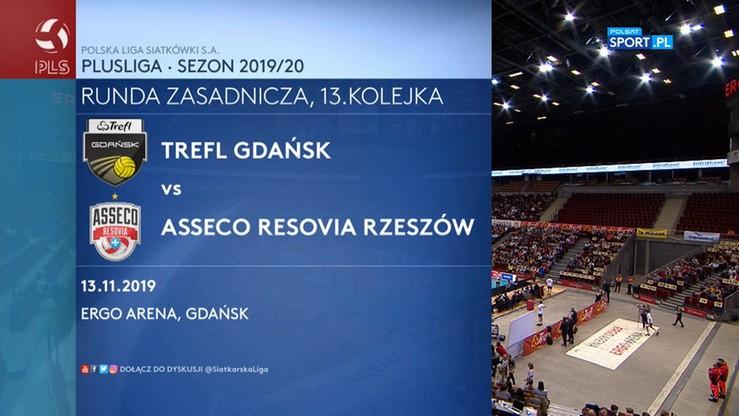 Trefl Gdańsk - Asseco Resovia Rzeszów 3:0. Skrót meczu