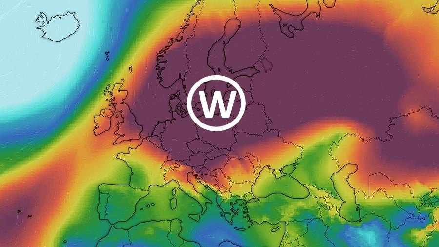 Lokalizacja wyżu nad Europą w dniu 23 marca 2020 roku. Fot. Windy.com
