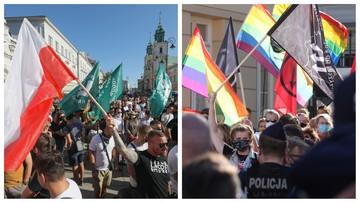 Dwie manifestacje na Krakowskim Przedmieściu. Narodowcy spalili tęczową flagę