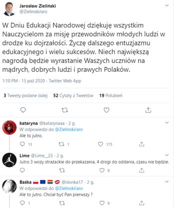 Wpis oraz odpowiedzi, które zniknęły z konta Jarosława Zielińskiego