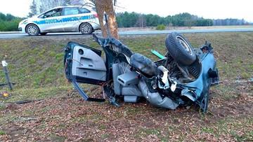 Drzewo przecięło samochód na pół. Śmiertelny wypadek 19-latka [ZDJĘCIA]