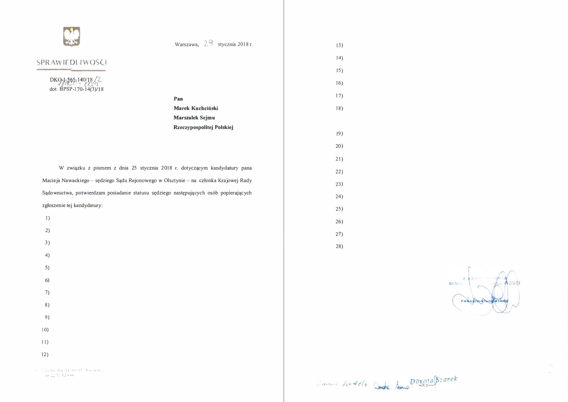 Zanonimizowana przez ministerstwo lista poparcia dla kandydatury sędziego Nawackiego