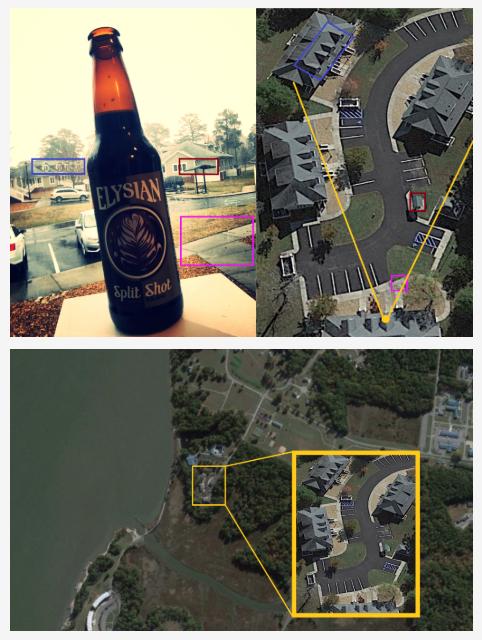 Fotografia butelki piwa zamieszczona w serwisie Untappd. W tle widoczne charakterystyczne punkty wskazane na mapie miejsca