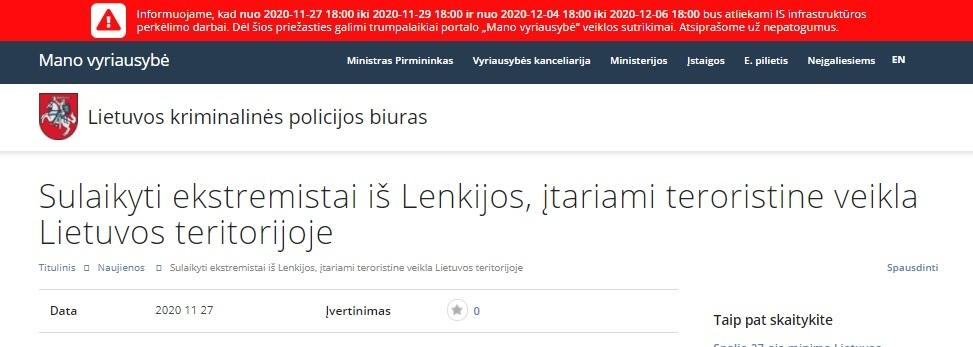 Link we wpisach polityków prowadził na fałszywą stronę litewskiej policji