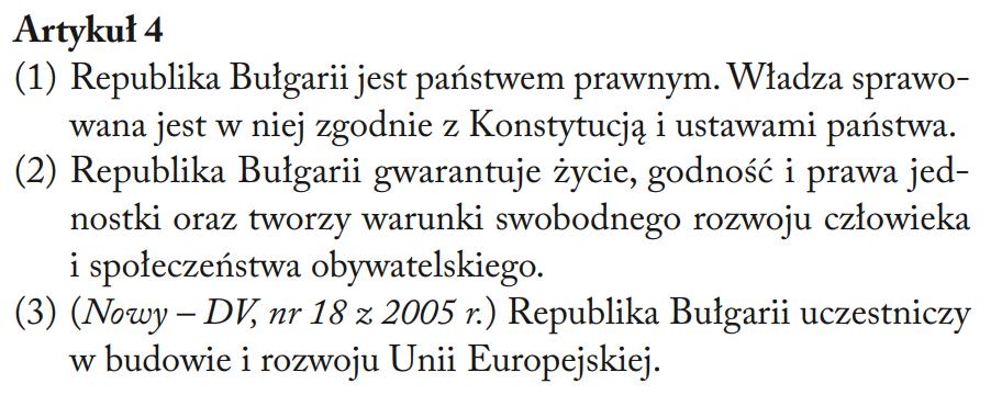 Fragment Konstytucji Republiki Bułgarii