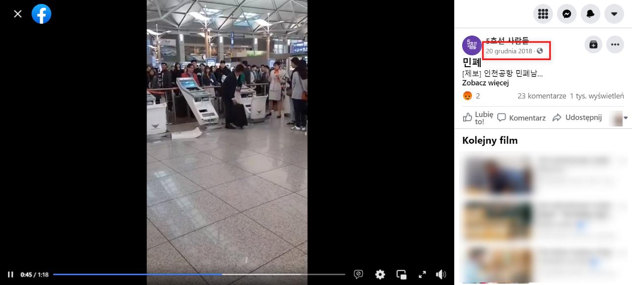 Dłuższa wersja nagrania z lotniska w Seulu została opublikowana na Facebooku w grudniu 2018 roku
