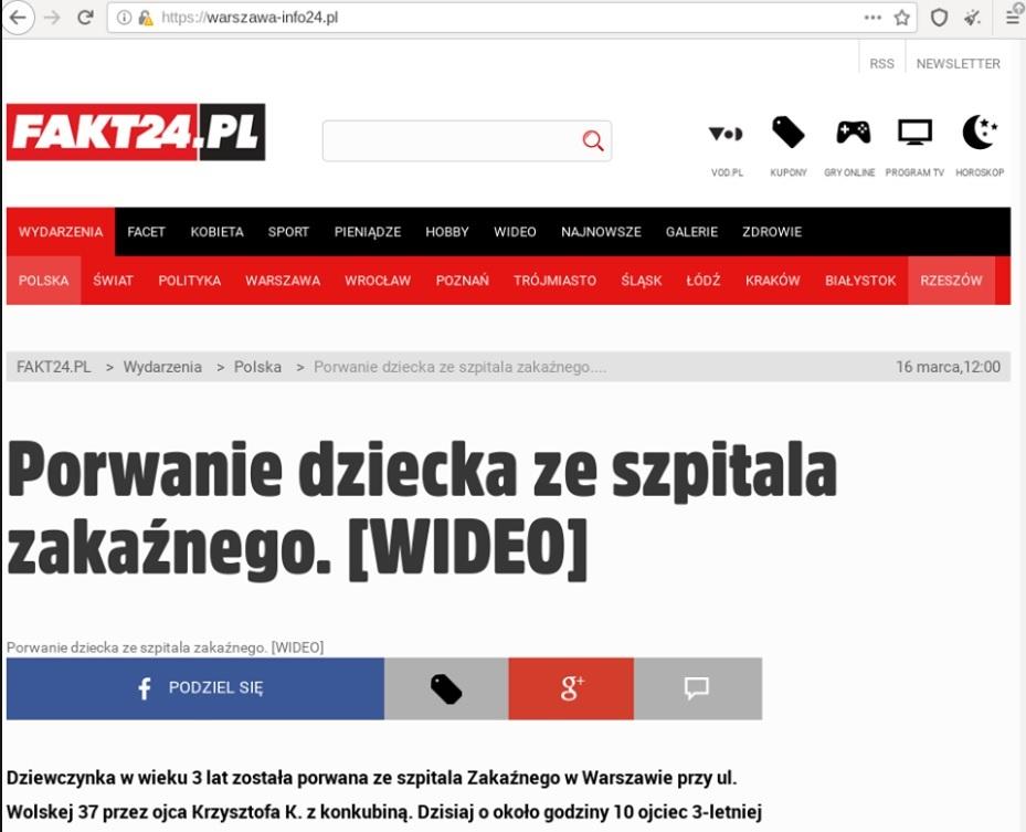 Fałszywa strona Fakt24.pl
