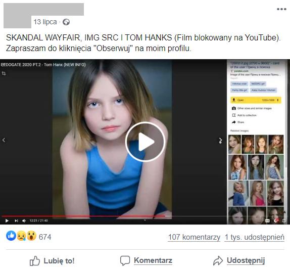 Film o aferze pedofilskiej opublikowano m.in. na Facebooku