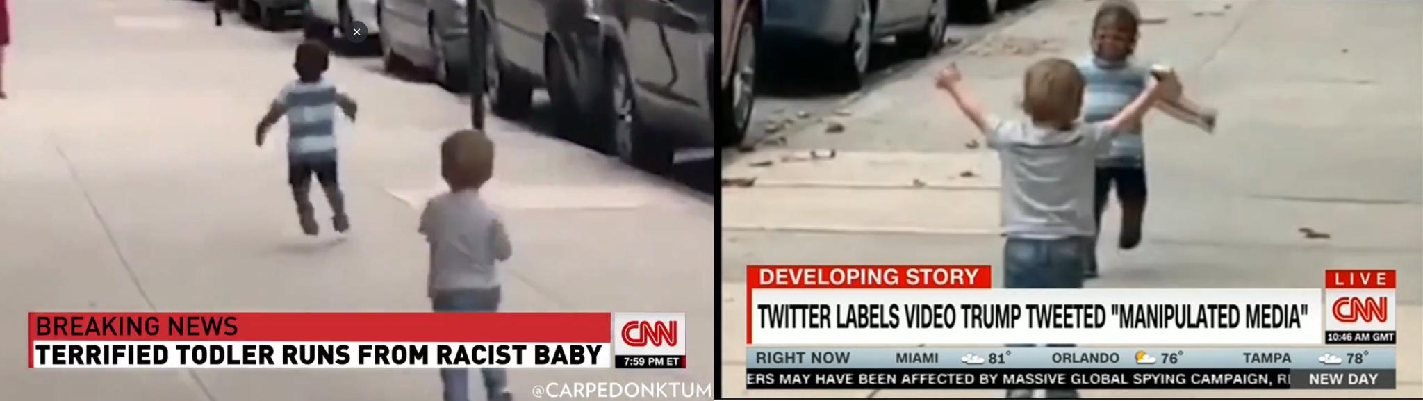 Po lewej: fragment filmu z konta Trumpa. Po prawej: zrzut ekranu z przekazu CNN