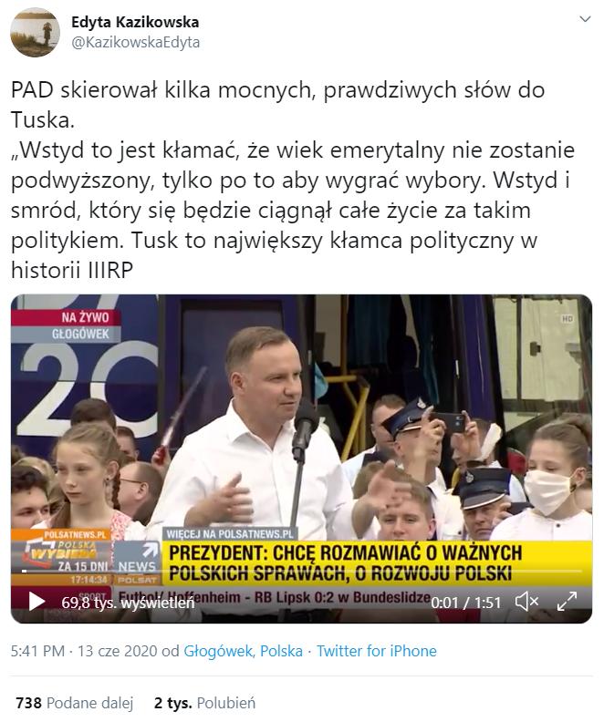 Tweet z cytatem Andrzeja Dudy na temat Donalda Tuska