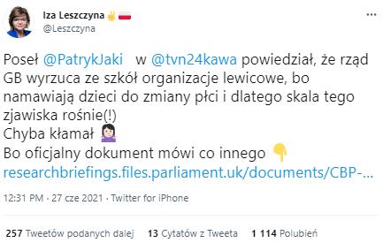 """Izabela Leszczyna o słowach Patryka Jakiego w """"Kawie na ławę"""""""