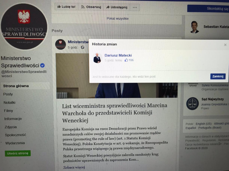 Dariusz Matecki prowadzi stronę na Facebooku Ministerstwu Sprawiedliwości
