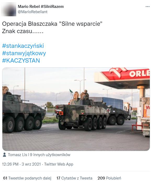 Wpis łączący przemieszczanie się rosomaków ze stanem wyjątkowym przy granicy polsko-białoruskiej