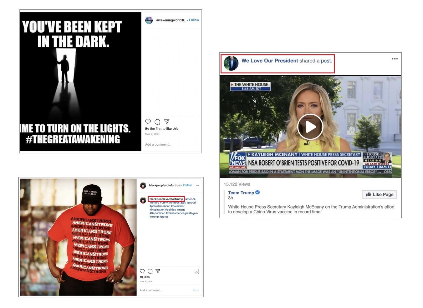 Przykładowe posty na fałszywych kontach na Facebooku i Instagramie prowadzonych w Rumunii