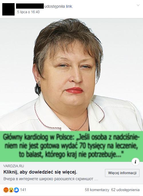 """Zrzut ekranu jednego z udostępnień linka w grupie """"Fani Jarosława Kuźniara"""""""