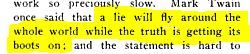 """M.Twain: """"Kłamstwo obleci cały świat, podczas gdy prawda będzie nakładać swoje buty"""""""