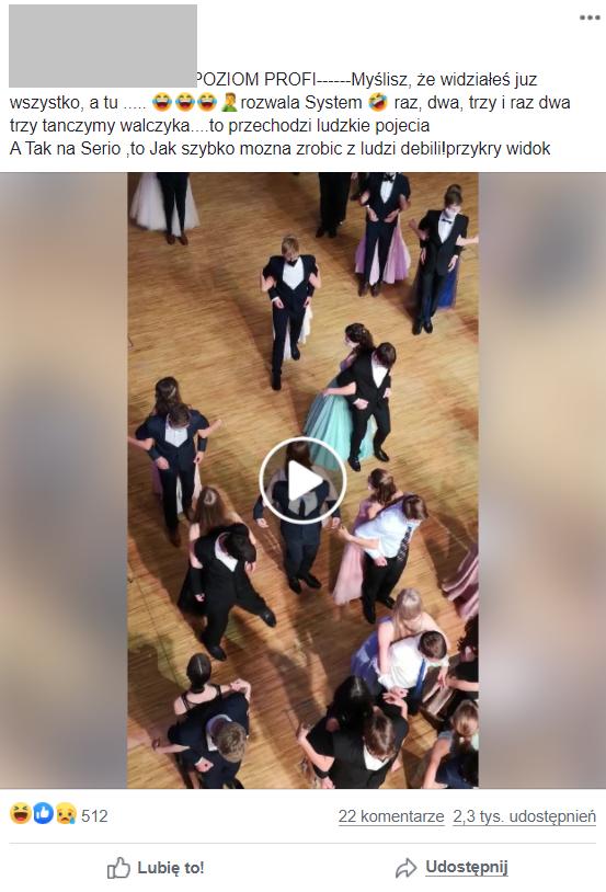 Internautka krytykuje tańczącą młodzież