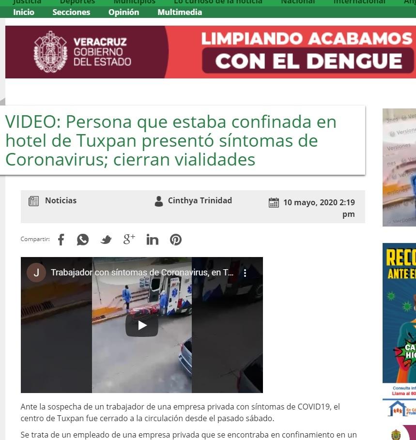 Informacja w meksykańskim portalu Versiones opisująca zdarzenie z filmu