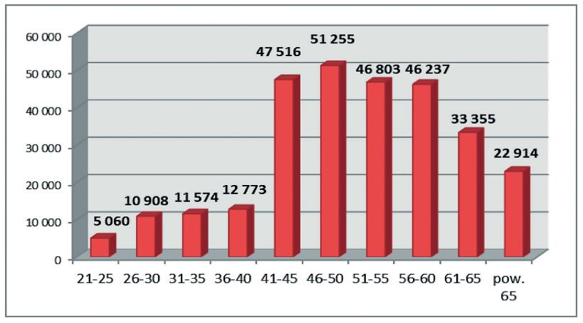Struktura wiekowa pielęgniarek, stan na 31.12.2016 r.