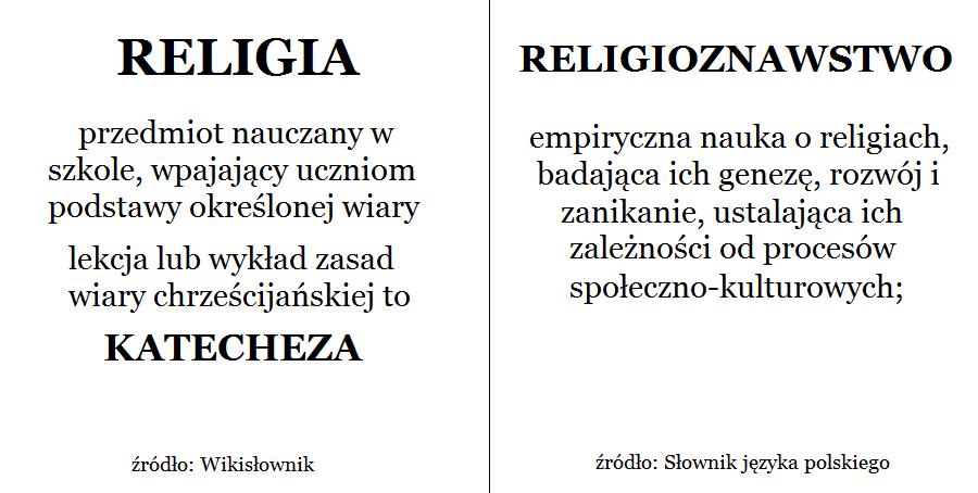 Różnice między charakterem przedmiotów religijnych w szkołach