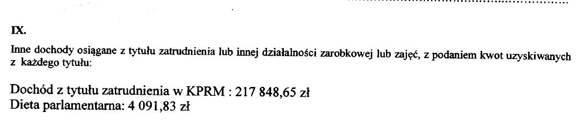 Fragment oświadczenia majątkowego Mateusza Morawieckiego za 2019 rok