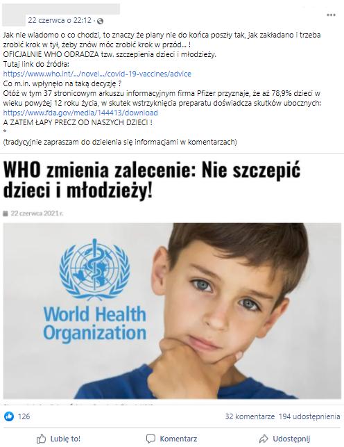 """""""OFICJALNIE WHO ODRADZA tzw. szczepienia dzieci i młodzieży"""" - sugerował jeden z internautów"""