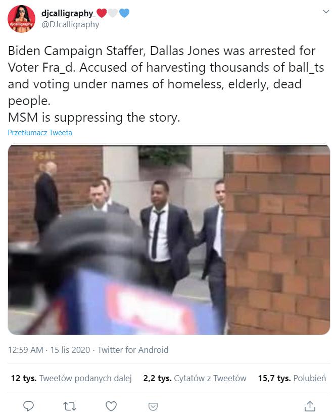 Wbrew rozpowszechnianym informacjom zdjęcie nie przedstawia momentu zatrzymania współpracownika Joe Bidena