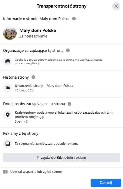 """Sekcja """"Transparentność strony"""" profilu """"Mały dom Polska"""""""