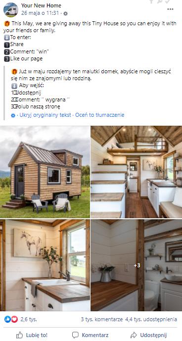 """Post opublikowany na stronie """"Your New Home"""""""