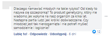 Przykładowy komentarz na facebookowej stronie sceptyków pandemii COVID-19