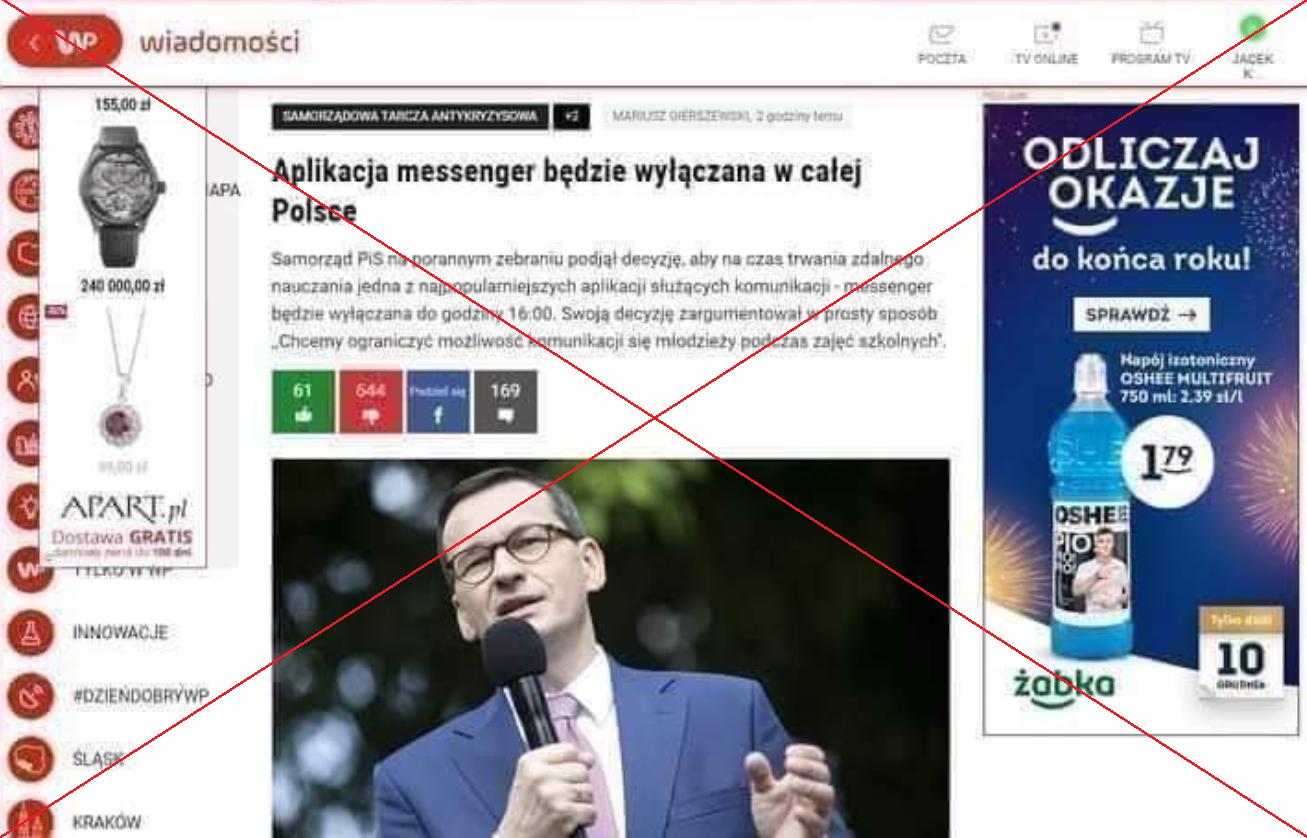 Fikcyjny artykuł o zablokowaniu Messengera