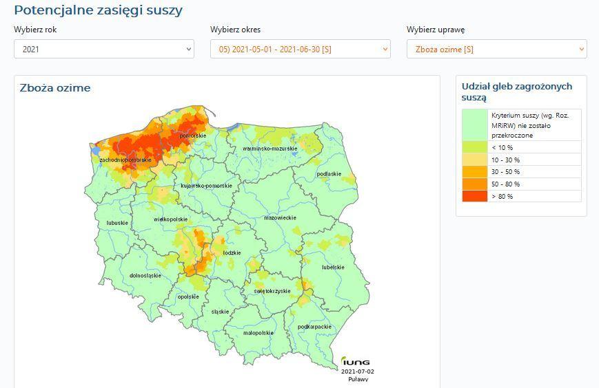 Mapa zagrożenia suszą według Instytutu Uprawy Nawożenia i Gleboznawstwa