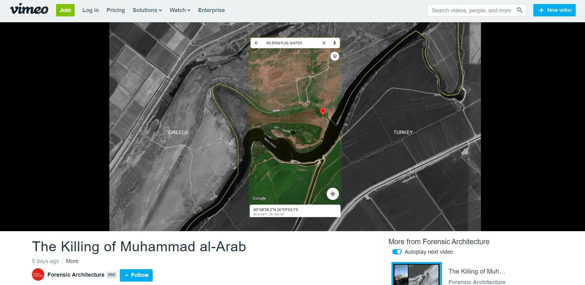 Film Forensic Architecture opublikowany w portalu Vimeo. Zaznaczono miejsce postrzelenia Muhammada Al-Araba