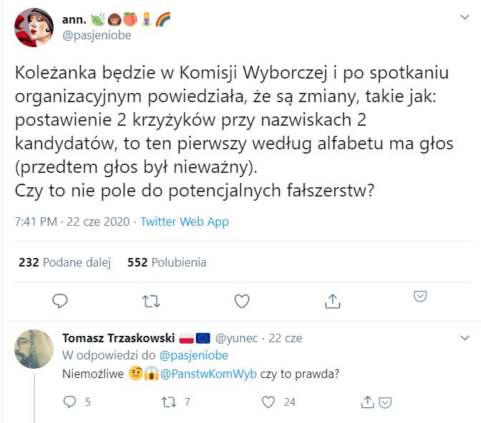 Wpis na Twitterze z fałszywą informacją o dwóch krzyżykach na karcie wyborczej