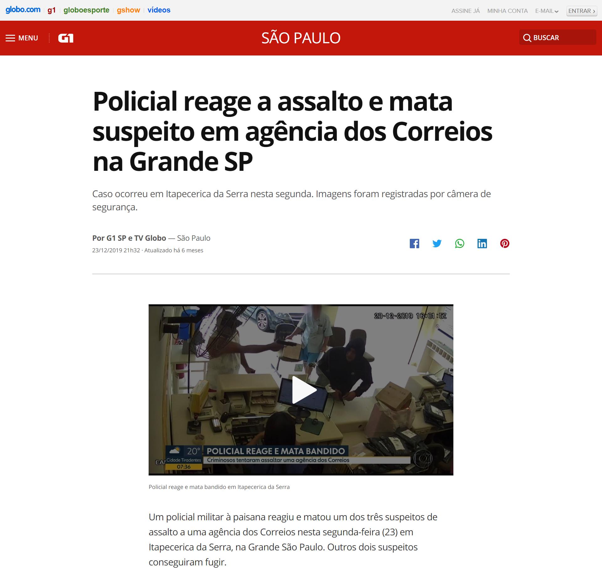 """Artykuł brazylijskiego portalu G1 pt. """"Policjant zareagował na napad i zabił podejrzanego na poczcie w stanie São Paulo"""" (tłum. red.)"""