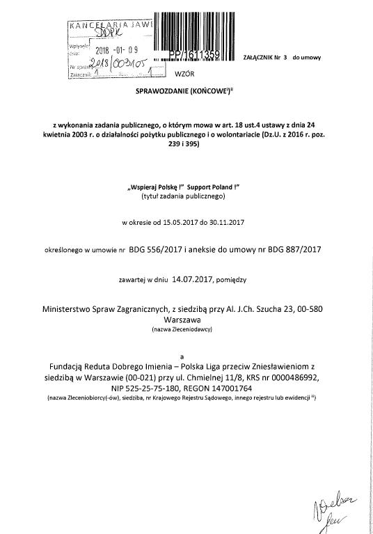 Pierwsza strona sprawozdania RDI