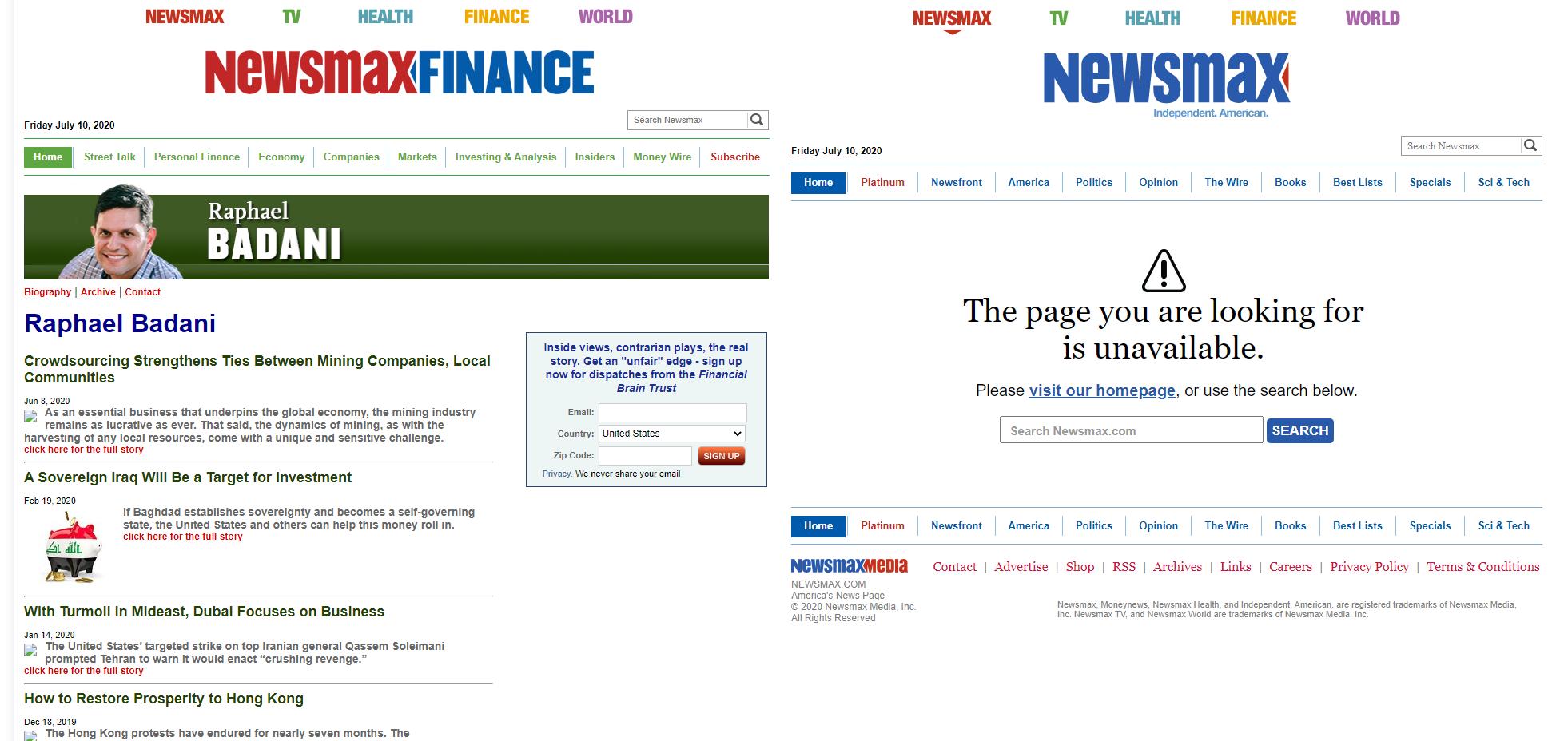 Profil fałszywego eksperta publikującego na stronie Newsmax został skasowany