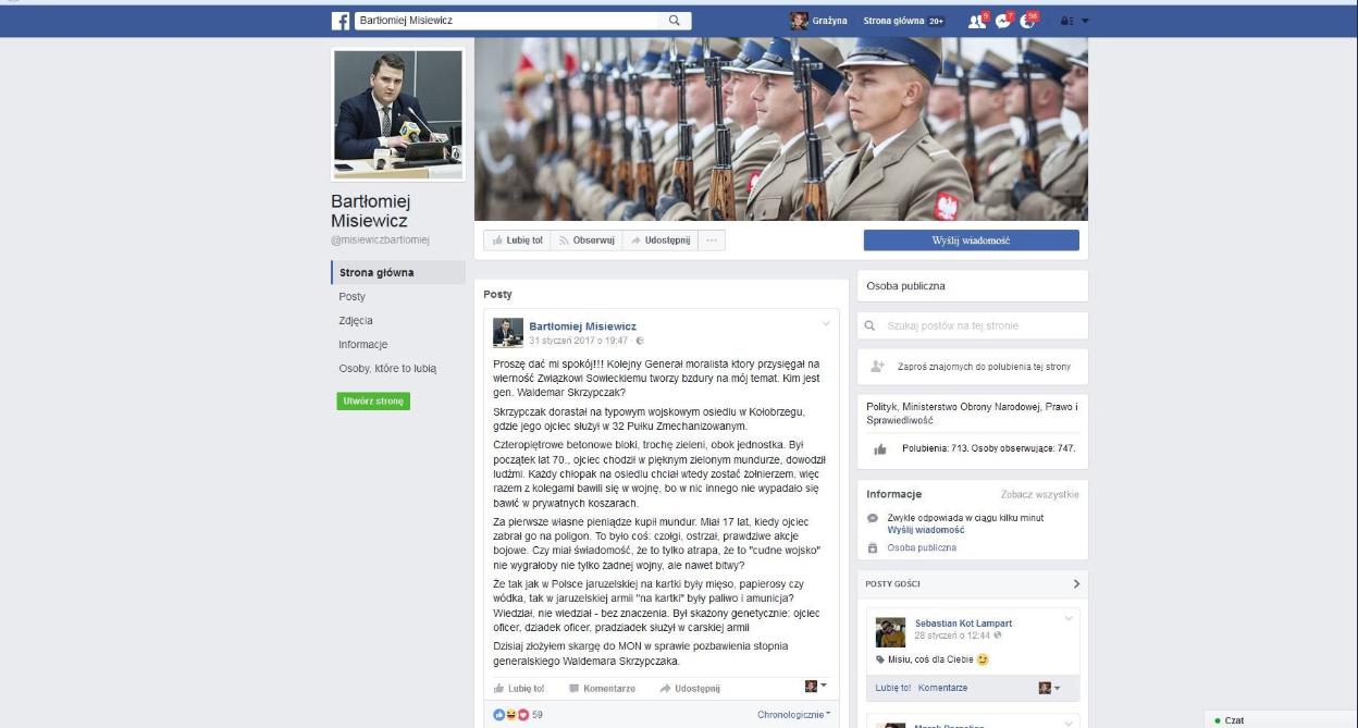 Zrzut ekranu fałszywego wpisu na Facebooku