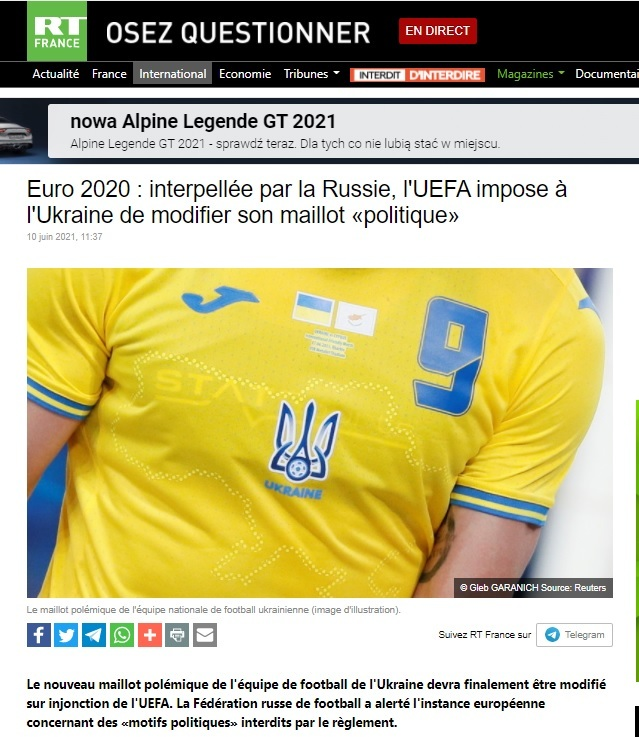 """Koszulki drużyny Ukrainy na Euro 2020 stały się powodem do powielania tezy o """"zamachu stanu na Majdanie"""""""