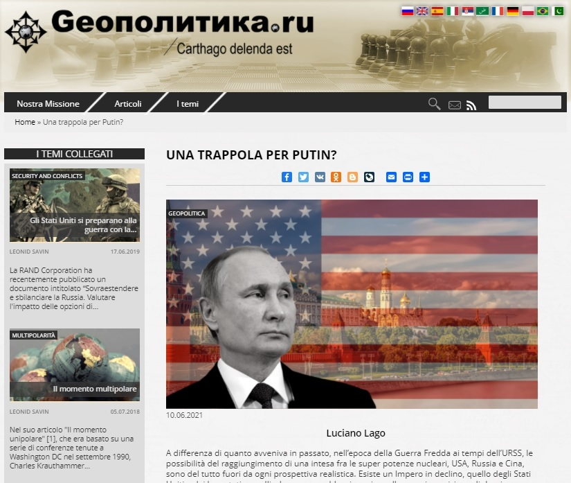W tekście na stronie Geopolitica.ru przekonywano, że Zachód podkopuje pozycję Rosji, by nie mogła ponownie stać się mocarstwem