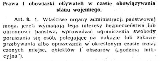 """Definicja """"godziny milicyjnej"""" w dekrecie o stanie wojennym z 12 grudnia 1981 roku"""