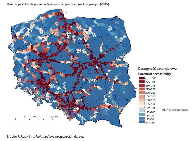 Dostępność do transportu kolejowwego w 2015 r.